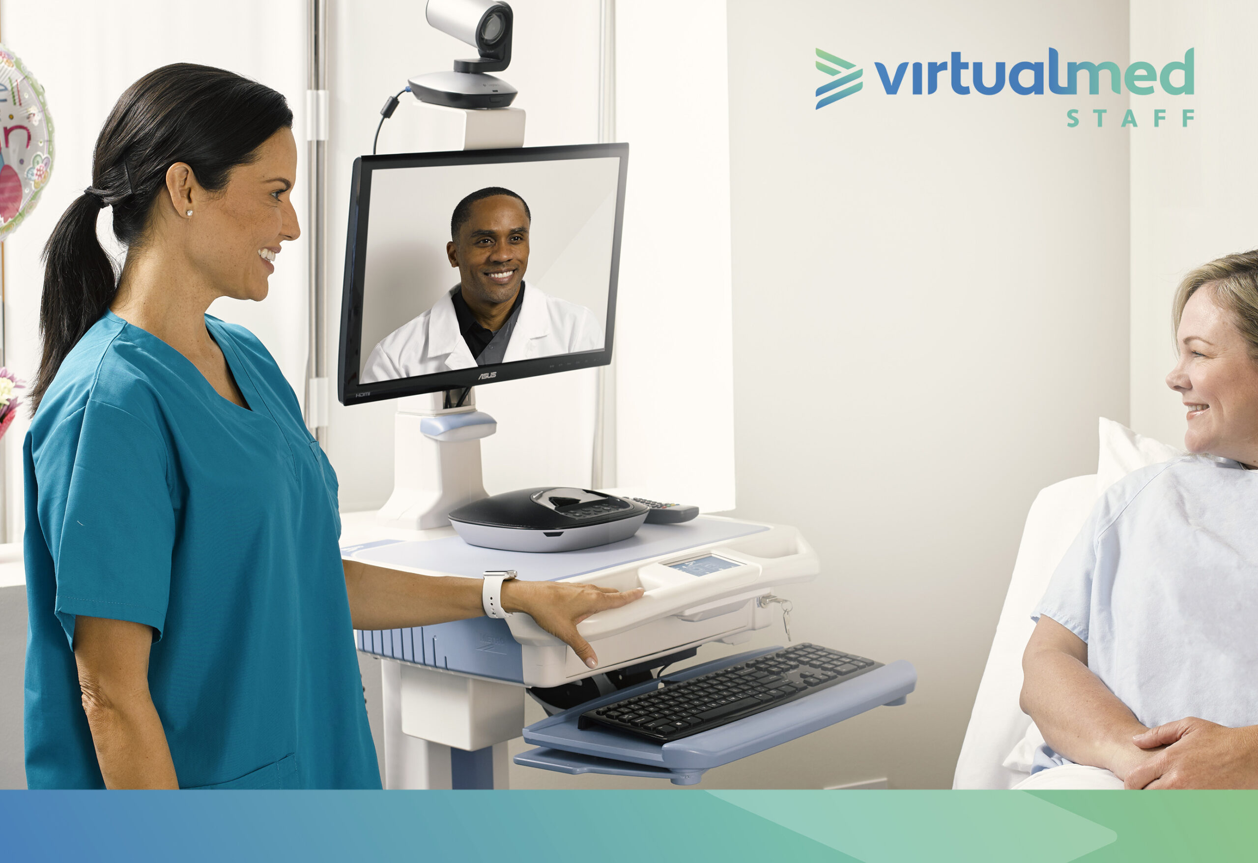 woman and technician telehealth visit