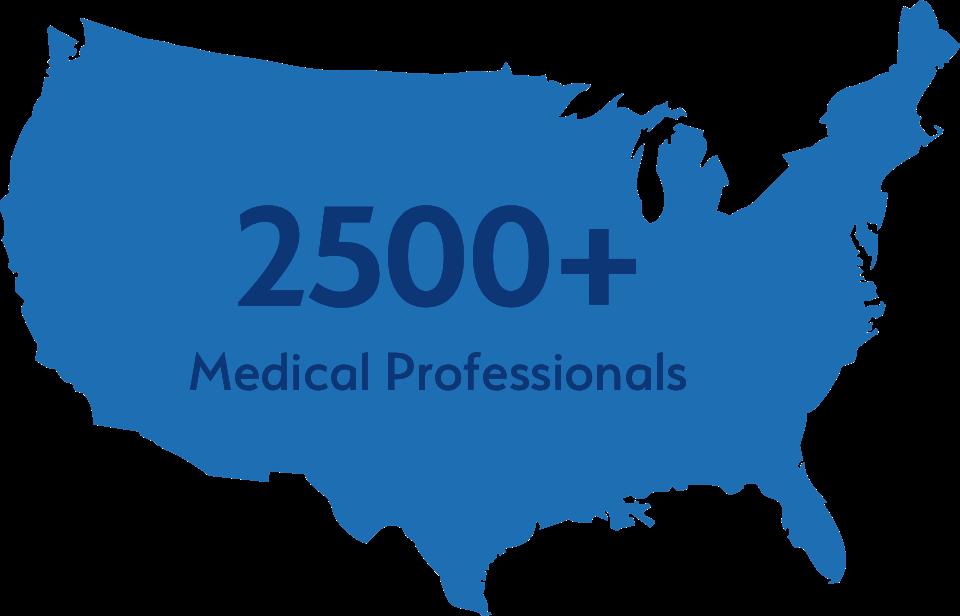 2500+ medical professionals graphic